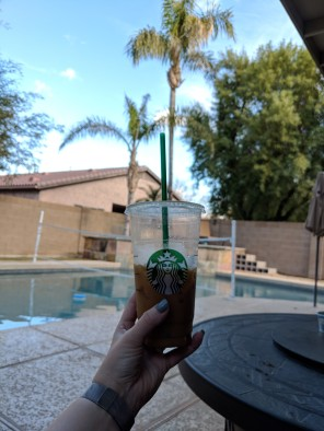 Poolside with Some Starbucks. In January.