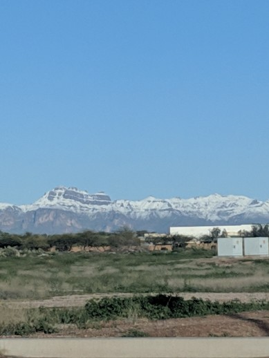 We saw some snow just outside of Mesa in February